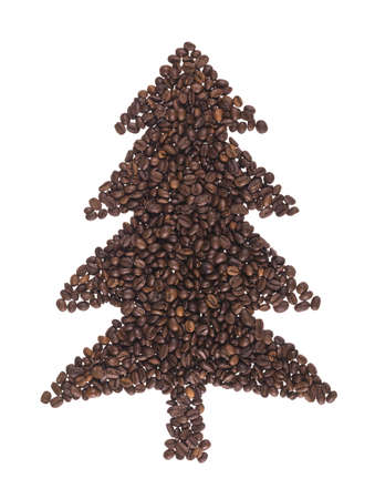 fir made of coffee beans on a white background