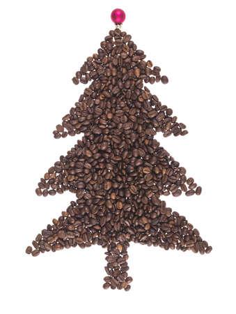 FIR gemacht von Kaffeebohnen auf weißem Hintergrund Lizenzfreie Bilder