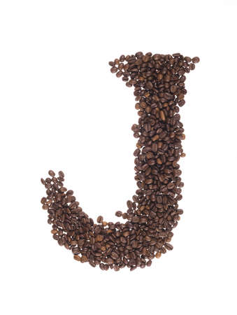 letters of alphabet  made of coffee beans on a white background Stock Photo - 8347075