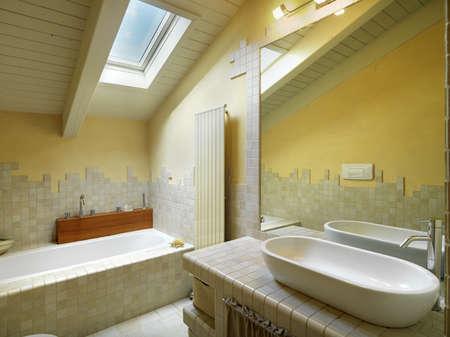 modern bathroom with bathtub in the attic