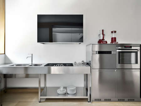 black appliances: modern steel high tech kic�tchen