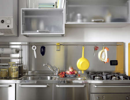 detail of modern kitchen with steel appliances Stock Photo - 13484081
