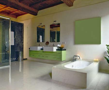 grünen Möbeln in einem modernen Bad und Badewanne
