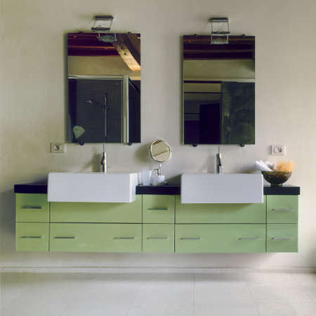 green furniture in a modern bathroom Stock Photo - 13615166