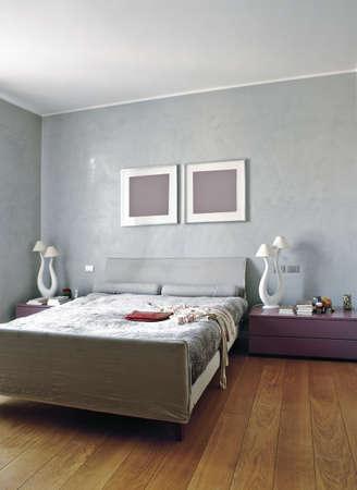 wooden flooring: modern bedroom with wood floor Stock Photo