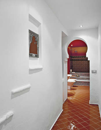 tile flooring: ethnic bathroom