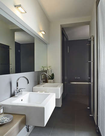 modern bathroom with two washbasin and bathtub photo