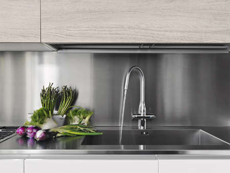 kitchen sink: vegetables near the steel sink in a white modern kitchen