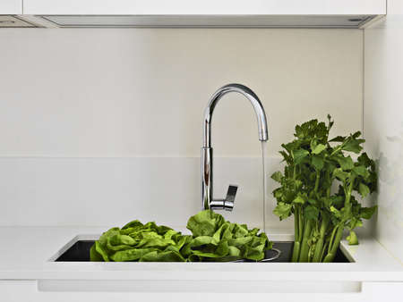 petroselinum sativum: vegetables in the steel sink in a modern kitchen