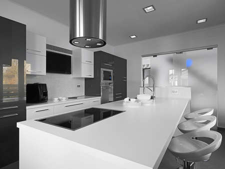modern kitchen with gray tile floor and white wall photo