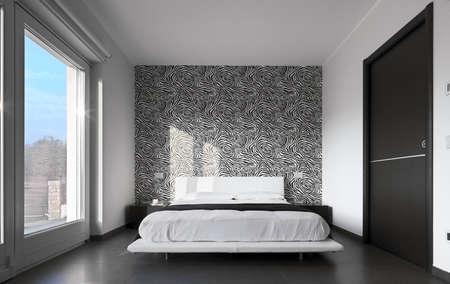 chambre � coucher: chambre moderne avec du papier peint noir et blanc Banque d'images