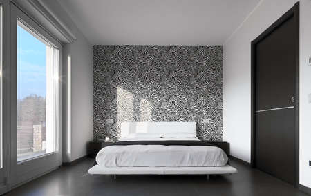 modern bedroom with wall paper black and white photo