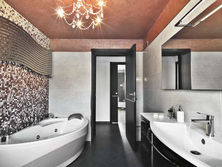 modern bathroom wit bathtub and washbasin photo