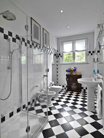 modern bathroom black and white photo