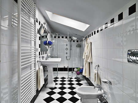 interior desing: modern bathroom black and white on garret