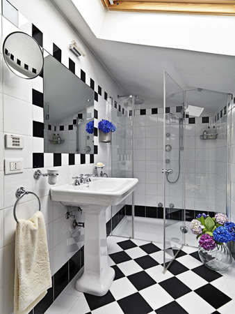 modern bathroom black and white on garret photo