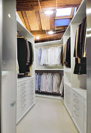 interior desing: modern wardrobe on the garret