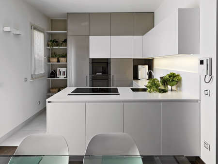 kitchen cabinet: modern kitchen with vegetables on the white worktop Stock Photo