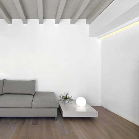 ceiling lamps: modern living room with wood floor Stock Photo