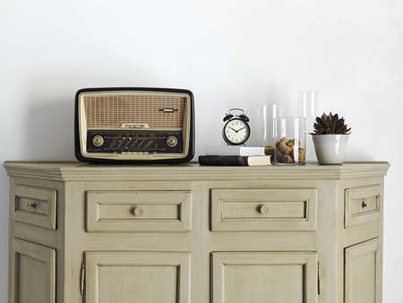 old radio on old furniture