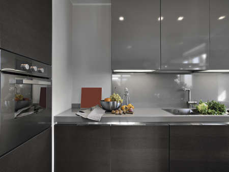 interior desing: detail of modern kitchen with fresh fruits Stock Photo