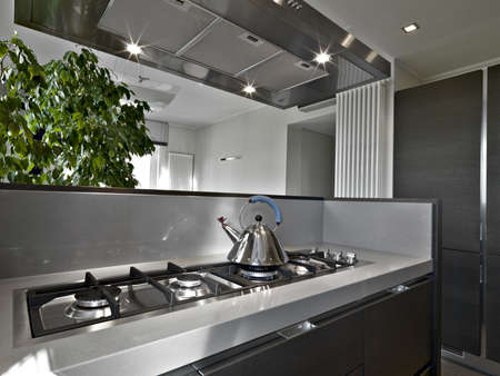 interior desing: detail of cooker in a modern kitchen