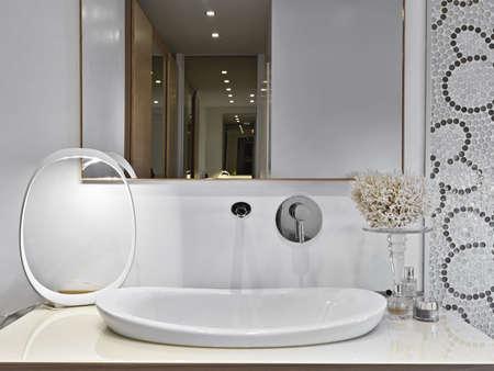 detail of washbasin of modern bathroom with perfume bottles Stock Photo - 16523206