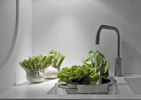 interior desing: vegetables near to sink and stell taps