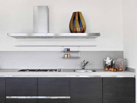 cucina moderna: dettaglio di lavello in una cucina moderna Archivio Fotografico