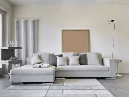 carpet and flooring: modern tissue sofa in a living room Stock Photo