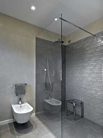 shower cubicle: shower cabin in a modern bathroom Stock Photo