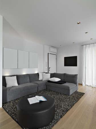 Gewebe Sofa in einem modernen Wohnzimmer mit Holzboden und Teppich
