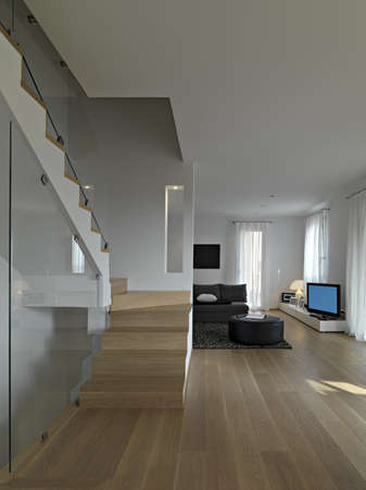 staricase in a modern living room with wood floor
