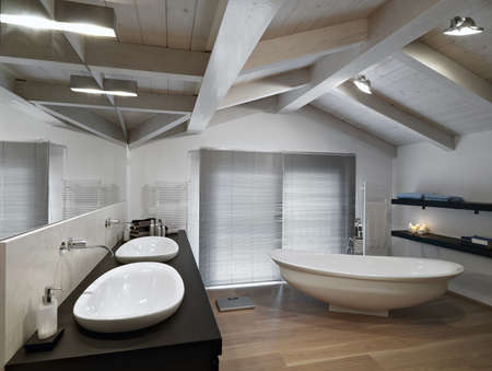 modern bathroom on garret photo