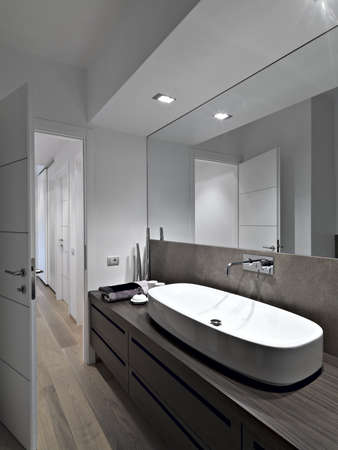 bathroom mirror: washbasin in a modern bathroom