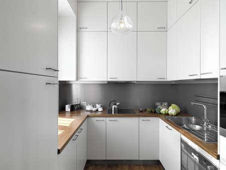 White Kitchen With Wooden Worktops detail little white modern kitchen of wood floor and wood worktop