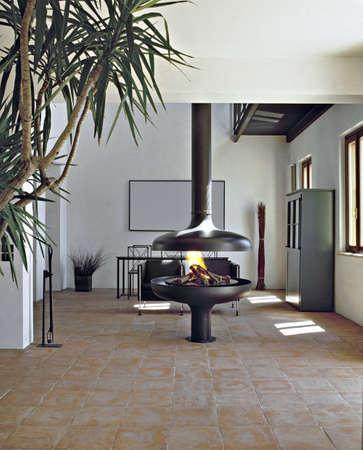 Moderne Eisen Kamin im Wohnzimmer Standard-Bild - 21503402