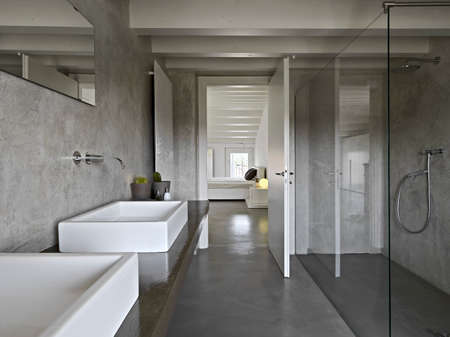 modern batroom with glass shower cubicle photo
