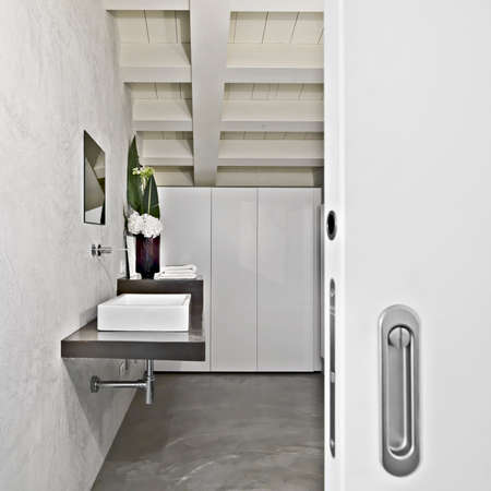 attic: modern bathroom in the attic  Stock Photo