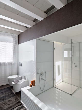 shower cubicle: large bathtub and glass shower cubicle in a modern bathroom with wood ceiling Stock Photo