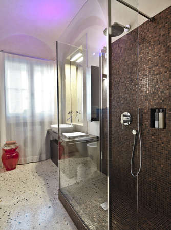shower cubicle: shower cubicle with mosaic tile in the modern bathroom