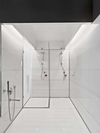 shower cubicle: large bathtub and glass shower cubicle in a modern bathroom
