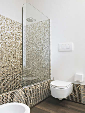 shower cubicle: detail of wash basin and suspended toilet bowl with masonry shower cubicle and mosaic tile for wall