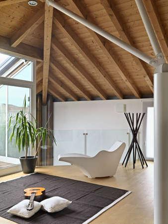 Moderne Wohnzimmer ith Sessel und akustischer Gitarre auf dem Teppich in der Dachkammer, Holz und Holzdecke Floring Standard-Bild - 27146982