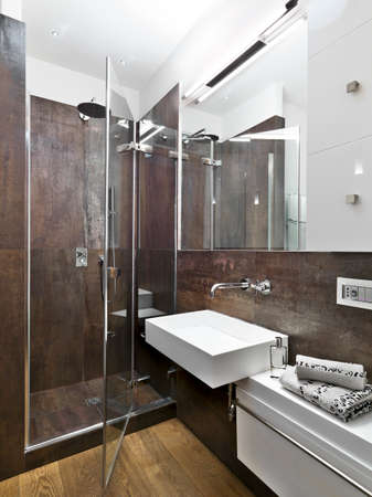 panoramic view of modern bathroom with glass shower cubicle and washbasin
