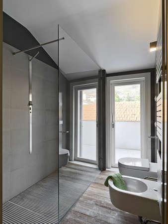 Glas Duschkabine in einem modernen bahtroom und Sanitärkeramik Standard-Bild - 29767432