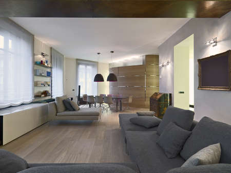 fabric sofa and dining table in a moern apartment with wood floor