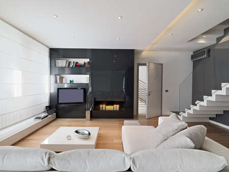 interior of living room overlooking on main door with fireplace, wood floor, staricase and boiseriei photo