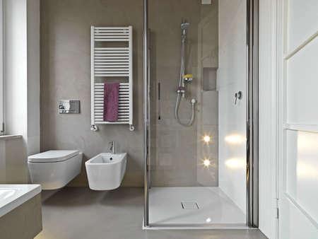sols: vue de saanitayware et douche cubile dans un bahtroom moderne Banque d'images