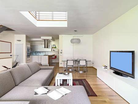 vista interiore di un salotto moderno in mansarda con pavimento in legno che si affaccia sulla cucina e tavolo da pranzo